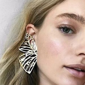 Hollow Butterfly Wing Statement Studs Drop Earring